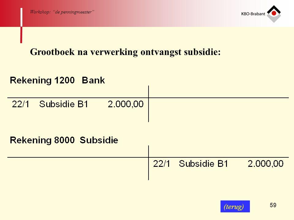 """59 Workshop: """"de penningmeester"""" Grootboek na verwerking ontvangst subsidie: (terug)"""