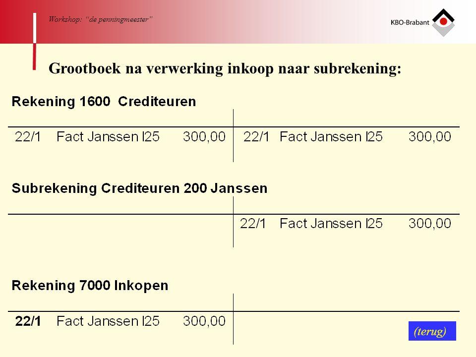 """61 Workshop: """"de penningmeester"""" Grootboek na verwerking inkoop naar subrekening: (terug)"""