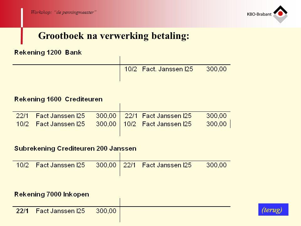 "62 Workshop: ""de penningmeester"" Grootboek na verwerking betaling: (terug)"