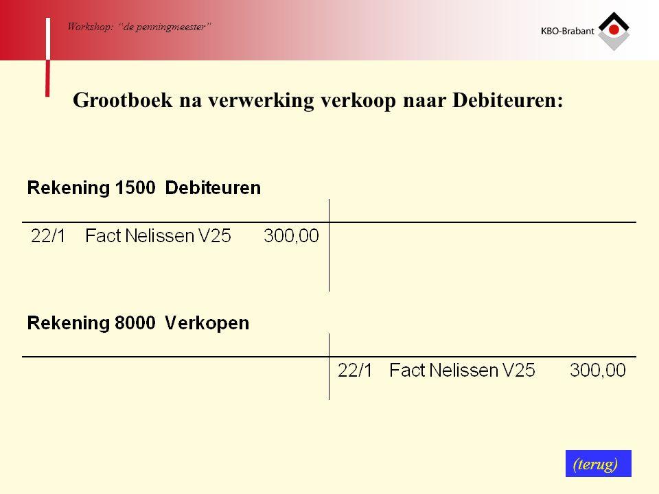 """64 Workshop: """"de penningmeester"""" Grootboek na verwerking verkoop naar Debiteuren: (terug)"""