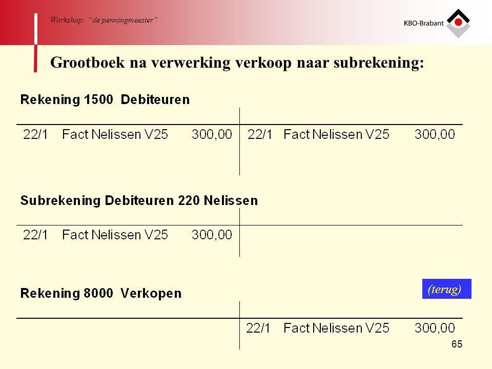 "65 Workshop: ""de penningmeester"" Grootboek na verwerking verkoop naar subrekening: (terug)"