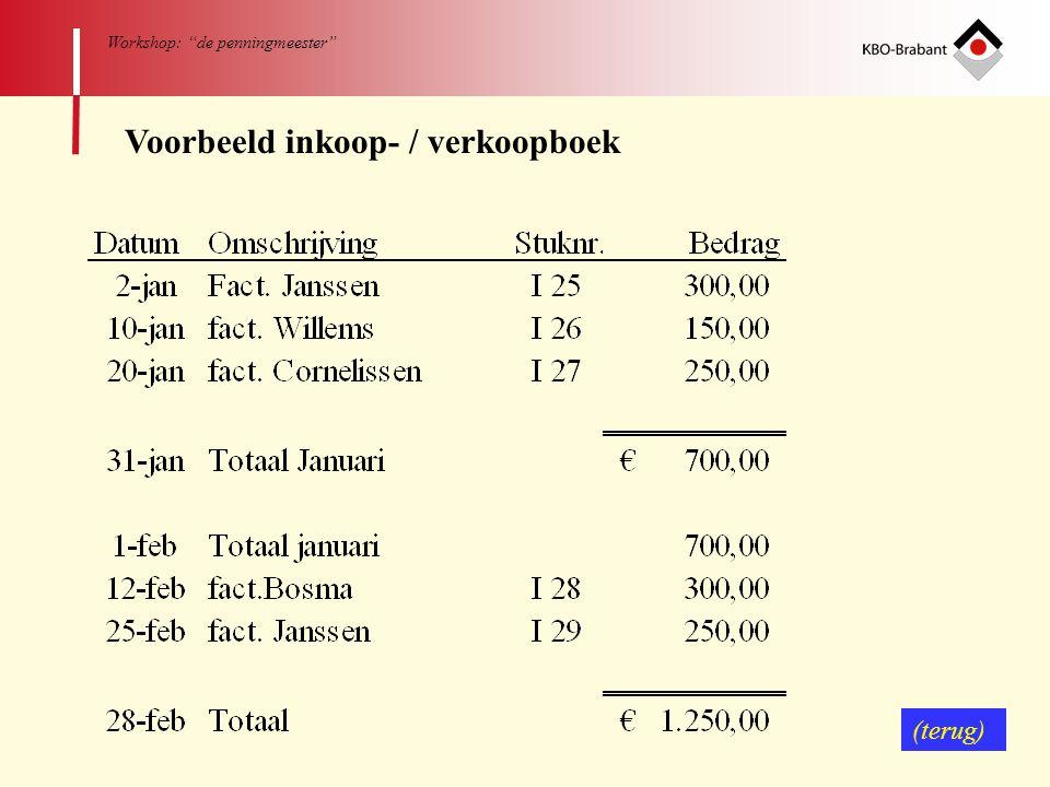 """70 Workshop: """"de penningmeester"""" Voorbeeld inkoop- / verkoopboek (terug)"""