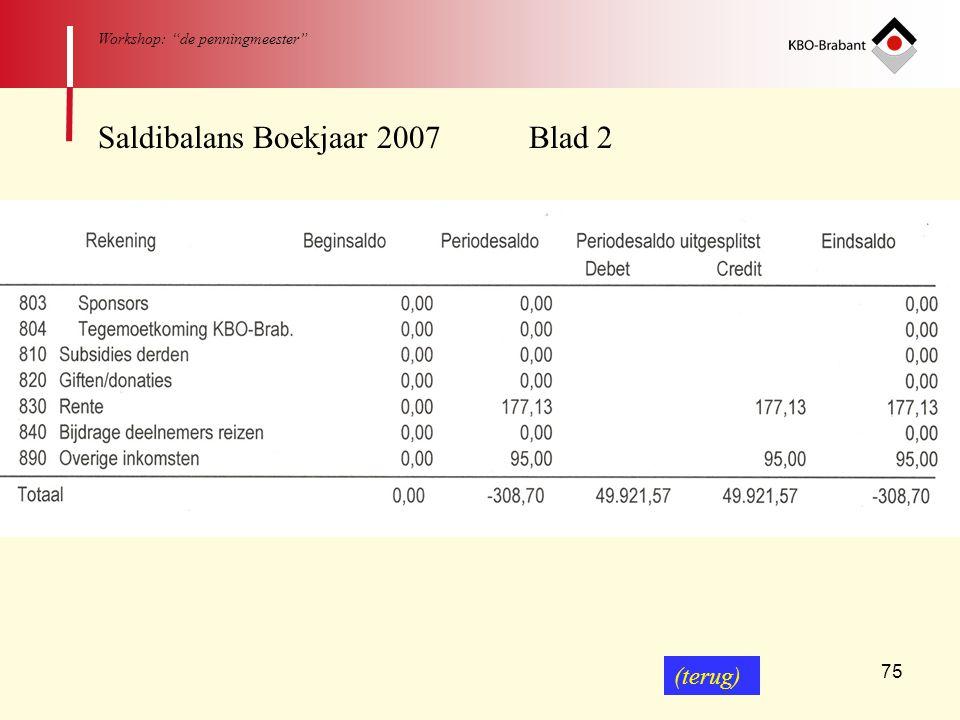 """75 Workshop: """"de penningmeester"""" Saldibalans Boekjaar 2007 Blad 2 (terug)"""