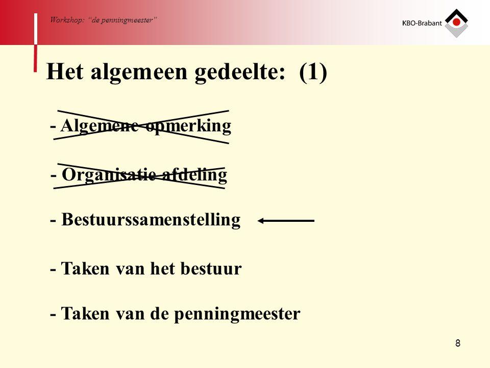 19 Workshop: de penningmeester Deel 2 Boekhouden 1 - Algemeen 2 - Middelen (bij dubbele boekhouding) 3 - Begrippen 4 - Boekhouding Vier hoofdstukken: