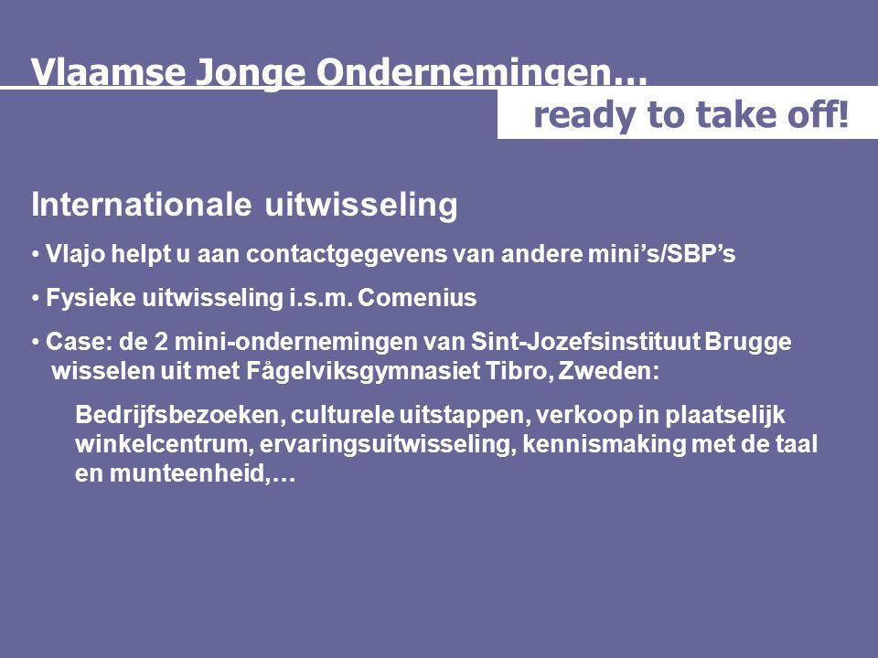 Vlaamse Jonge Ondernemingen… ready to take off! Internationale uitwisseling • Vlajo helpt u aan contactgegevens van andere mini's/SBP's • Fysieke uitw