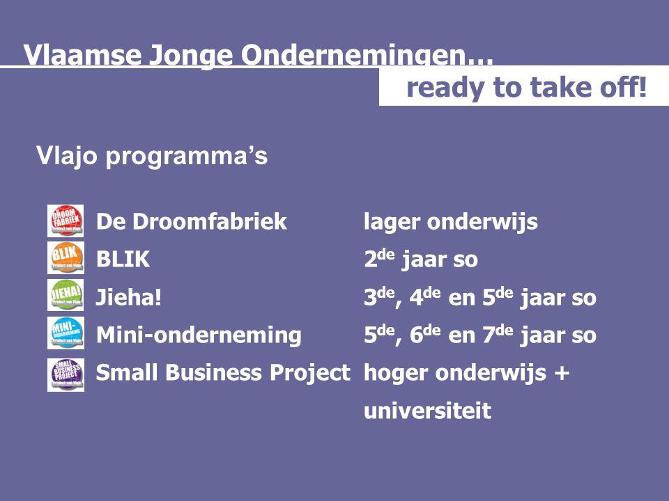 Vlaamse Jonge Ondernemingen… ready to take off! Vlajo programma's De Droomfabrieklager onderwijs BLIK 2 de jaar so Jieha!3 de, 4 de en 5 de jaar so Mi
