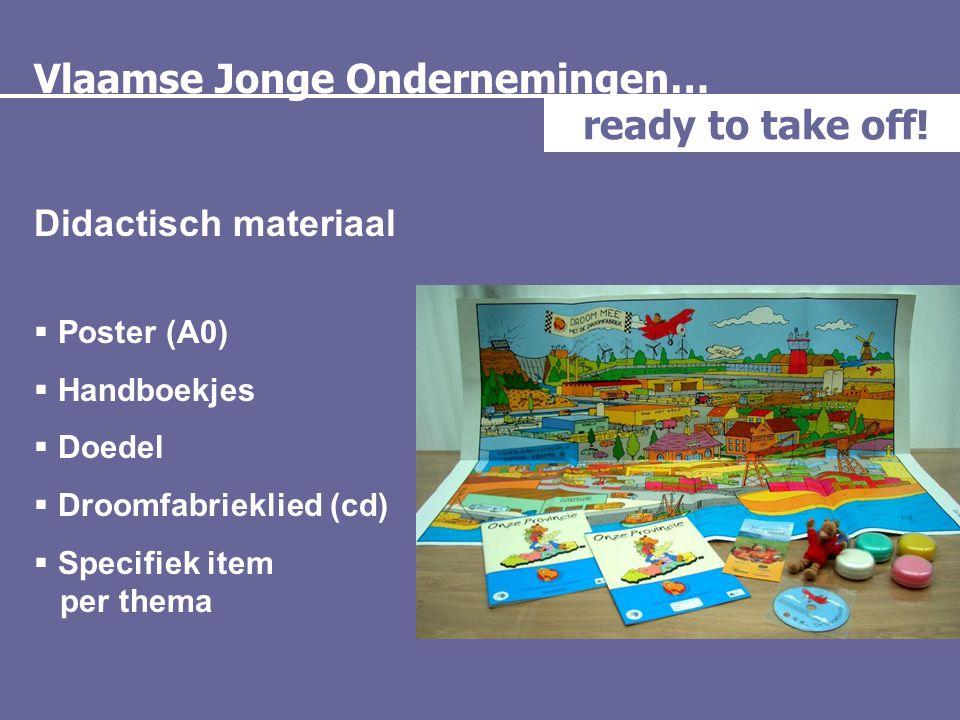 Vlaamse Jonge Ondernemingen… ready to take off! Didactisch materiaal  Poster (A0)  Handboekjes  Doedel  Droomfabrieklied (cd)  Specifiek item per