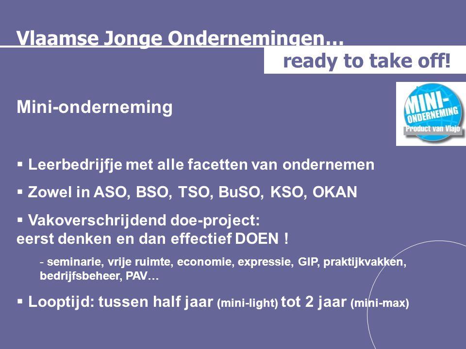 Vlaamse Jonge Ondernemingen… ready to take off! Mini-onderneming  Leerbedrijfje met alle facetten van ondernemen  Zowel in ASO, BSO, TSO, BuSO, KSO,