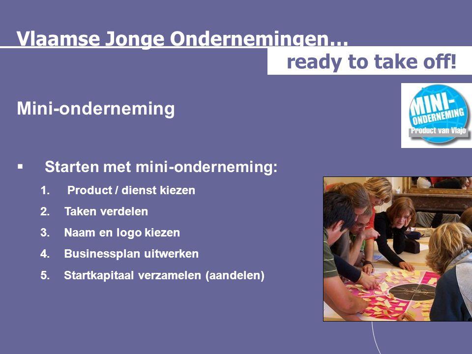 Vlaamse Jonge Ondernemingen… ready to take off! Mini-onderneming  Starten met mini-onderneming: 1. Product / dienst kiezen 2.Taken verdelen 3.Naam en