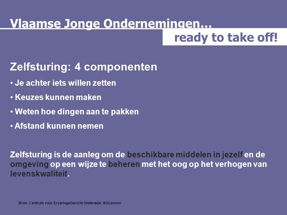 Vlaamse Jonge Ondernemingen… ready to take off! Zelfsturing: 4 componenten • Je achter iets willen zetten • Keuzes kunnen maken • Weten hoe dingen aan