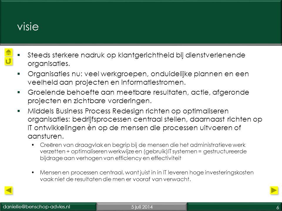 danielle@benschop-advies.nl5 juli 2014 6 visie  Steeds sterkere nadruk op klantgerichtheid bij dienstverlenende organisaties.