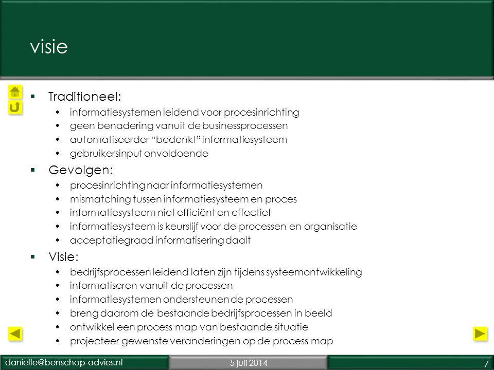 danielle@benschop-advies.nl5 juli 2014 18 process mapping, waarom.