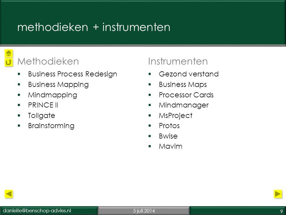 danielle@benschop-advies.nl5 juli 2014 10 opdrachtgevers  Ministerie van Buitenlandse Zaken •ICT (uitrol hard- & software worldwide) procesmodel, opleiding •Personeelszaken (implementatie salarissysteem) •Financiele administratie (implementatie Oracle) •Inkoop (E-procurement)  Ministerie van Binnenlandse Zaken + IBM •P-Direkt, impactanalyse, implementatie SSC  Rijksgebouwendenst •Begeleiding selectietraject nieuwbouw Ministeries  2 e kamer •E-procurement  Gemeente Rotterdam •Procesherontwerp en Ontwikkeling dienstverlening: BPR •Optimalisatie parkeerproducten  Interpolis •Fusie  Rijksgebouwendenst •Begeleiding selectietraject nieuwbouw Ministeries  Monumentenzorg + ROB •Fusie  Prorail •Ontwikkeling Productencatalogus •Training procesmatig werken  Ministerie van VROM •P-Direkt, impactanalyse, SSC  Ministerie van Financiën •P-Direkt, impactanalyse, SSC  Ministerie van VWS •P-Direkt, impactanalyse, SSC