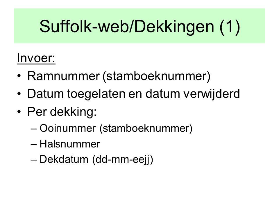 Suffolk-web/Dekkingen (1) Invoer: •Ramnummer (stamboeknummer) •Datum toegelaten en datum verwijderd •Per dekking: –Ooinummer (stamboeknummer) –Halsnummer –Dekdatum (dd-mm-eejj)