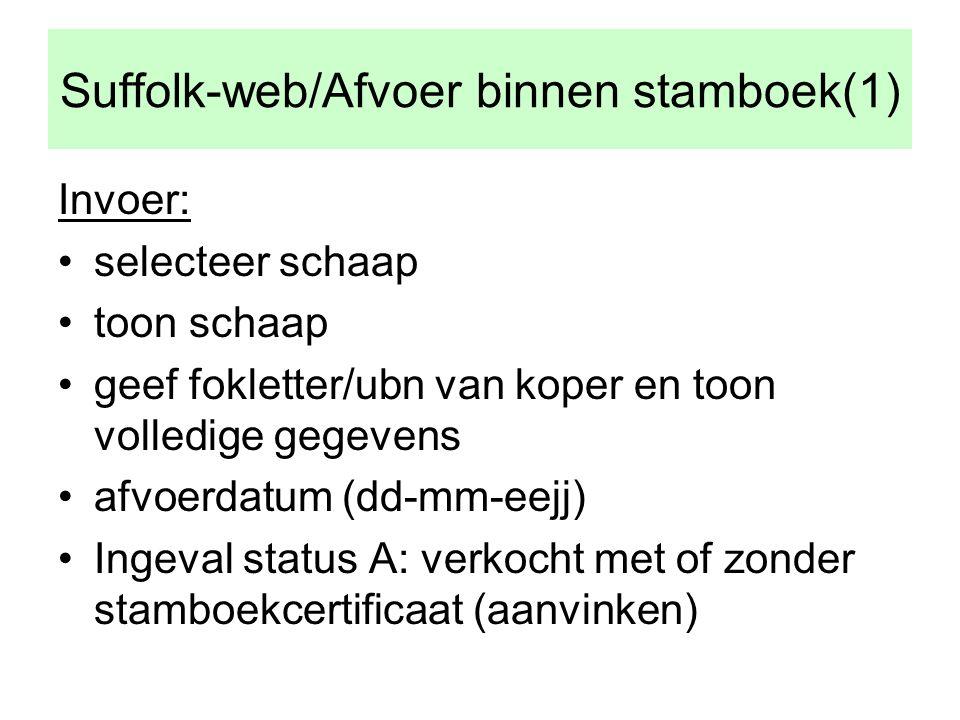 Suffolk-web/Afvoer binnen stamboek(1) Invoer: •selecteer schaap •toon schaap •geef fokletter/ubn van koper en toon volledige gegevens •afvoerdatum (dd-mm-eejj) •Ingeval status A: verkocht met of zonder stamboekcertificaat (aanvinken)