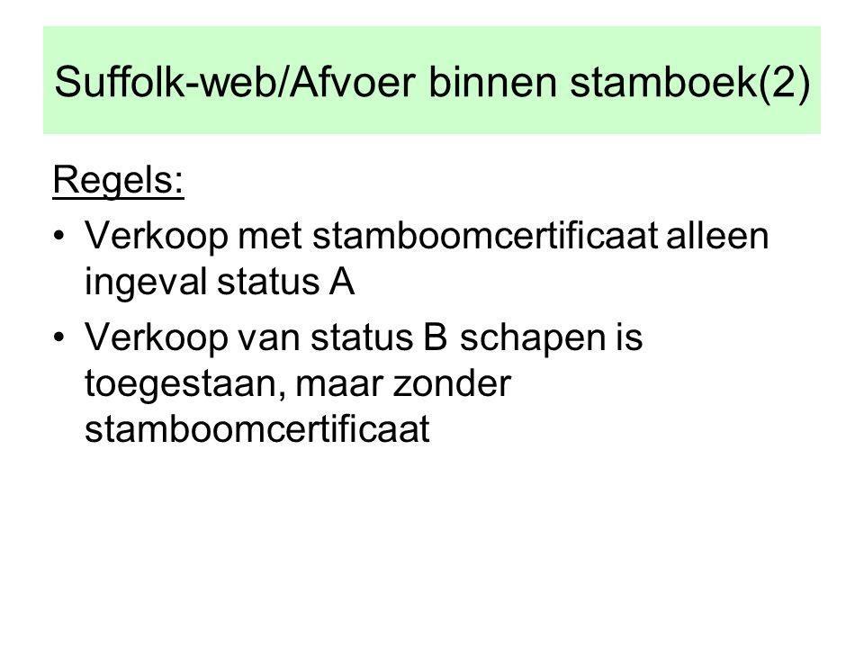 Suffolk-web/Afvoer binnen stamboek(2) Regels: •Verkoop met stamboomcertificaat alleen ingeval status A •Verkoop van status B schapen is toegestaan, maar zonder stamboomcertificaat