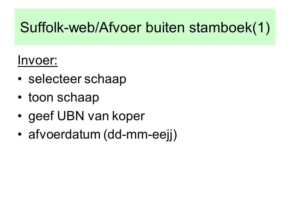 Suffolk-web/Afvoer buiten stamboek(1) Invoer: •selecteer schaap •toon schaap •geef UBN van koper •afvoerdatum (dd-mm-eejj)