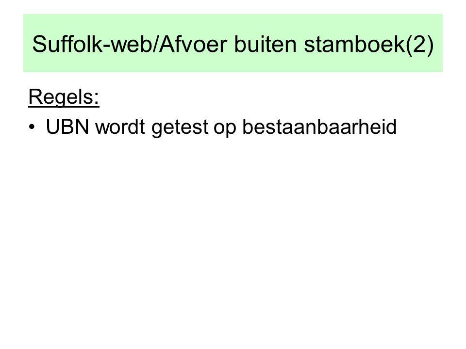 Suffolk-web/Afvoer buiten stamboek(2) Regels: •UBN wordt getest op bestaanbaarheid
