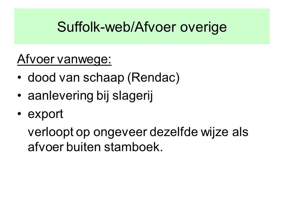 Suffolk-web/Afvoer overige Afvoer vanwege: •dood van schaap (Rendac) •aanlevering bij slagerij •export verloopt op ongeveer dezelfde wijze als afvoer buiten stamboek.