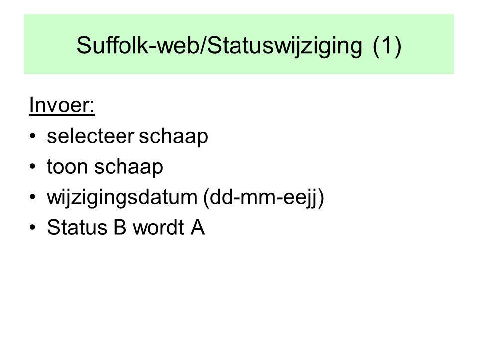Suffolk-web/Statuswijziging (1) Invoer: •selecteer schaap •toon schaap •wijzigingsdatum (dd-mm-eejj) •Status B wordt A