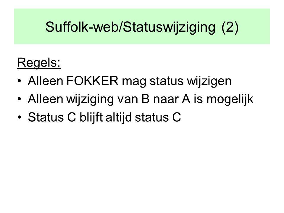 Suffolk-web/Statuswijziging (2) Regels: •Alleen FOKKER mag status wijzigen •Alleen wijziging van B naar A is mogelijk •Status C blijft altijd status C