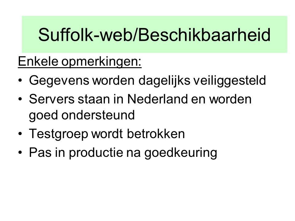 Su Enkele opmerkingen: •Gegevens worden dagelijks veiliggesteld •Servers staan in Nederland en worden goed ondersteund •Testgroep wordt betrokken •Pas in productie na goedkeuring Suffolk-web/Beschikbaarheid