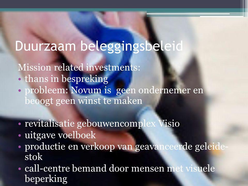 Duurzaam beleggingsbeleid Mission related investments: •thans in bespreking •probleem: Novum is geen ondernemer en beoogt geen winst te maken •revitalisatie gebouwencomplex Visio •uitgave voelboek •productie en verkoop van geavanceerde geleide- stok •call-centre bemand door mensen met visuele beperking