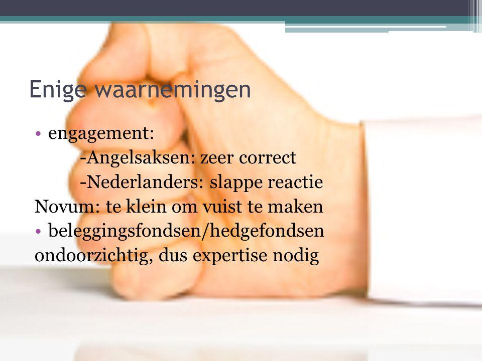 Enige waarnemingen •engagement: -Angelsaksen: zeer correct -Nederlanders: slappe reactie Novum: te klein om vuist te maken •beleggingsfondsen/hedgefondsen ondoorzichtig, dus expertise nodig