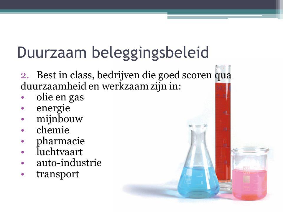Duurzaam beleggingsbeleid 2.Best in class, bedrijven die goed scoren qua duurzaamheid en werkzaam zijn in: •olie en gas •energie •mijnbouw •chemie •pharmacie •luchtvaart •auto-industrie •transport