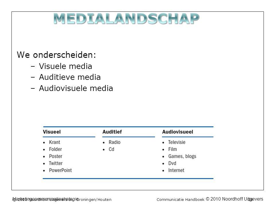 © 2010 Noordhoff UitgeversMarketingcommunicatiestrategie We onderscheiden: –Visuele media –Auditieve media –Audiovisuele media © 2010 Noordhoff Uitgevers bv, Groningen/Houten Communicatie Handboek 28