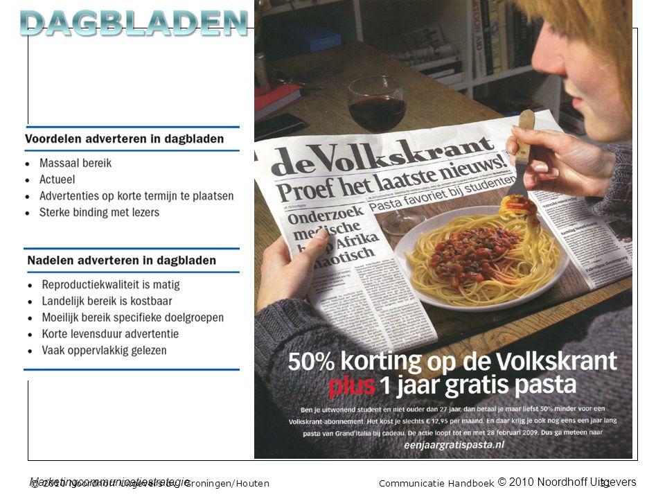 © 2010 Noordhoff UitgeversMarketingcommunicatiestrategie © 2010 Noordhoff Uitgevers bv, Groningen/Houten Communicatie Handboek 31