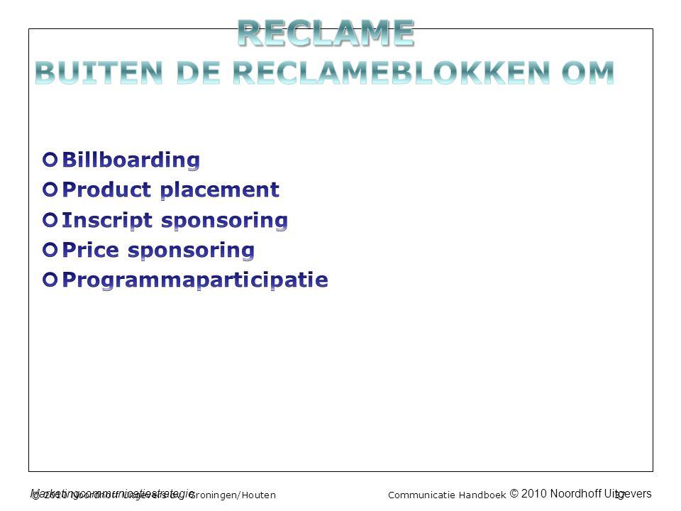 © 2010 Noordhoff UitgeversMarketingcommunicatiestrategie © 2010 Noordhoff Uitgevers bv, Groningen/Houten Communicatie Handboek 37