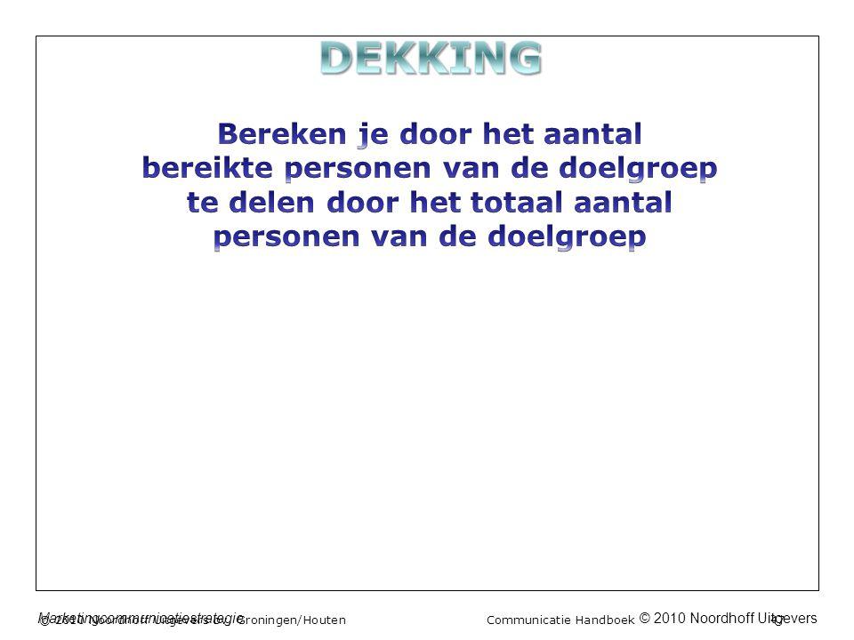 © 2010 Noordhoff UitgeversMarketingcommunicatiestrategie © 2010 Noordhoff Uitgevers bv, Groningen/Houten Communicatie Handboek 47