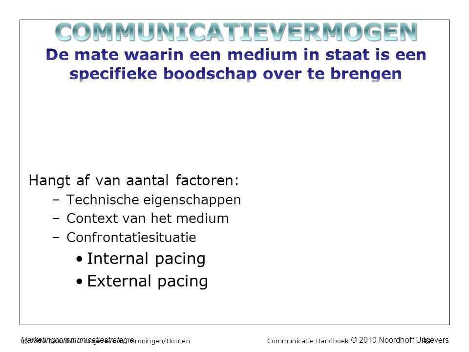 © 2010 Noordhoff UitgeversMarketingcommunicatiestrategie Hangt af van aantal factoren: –Technische eigenschappen –Context van het medium –Confrontatie