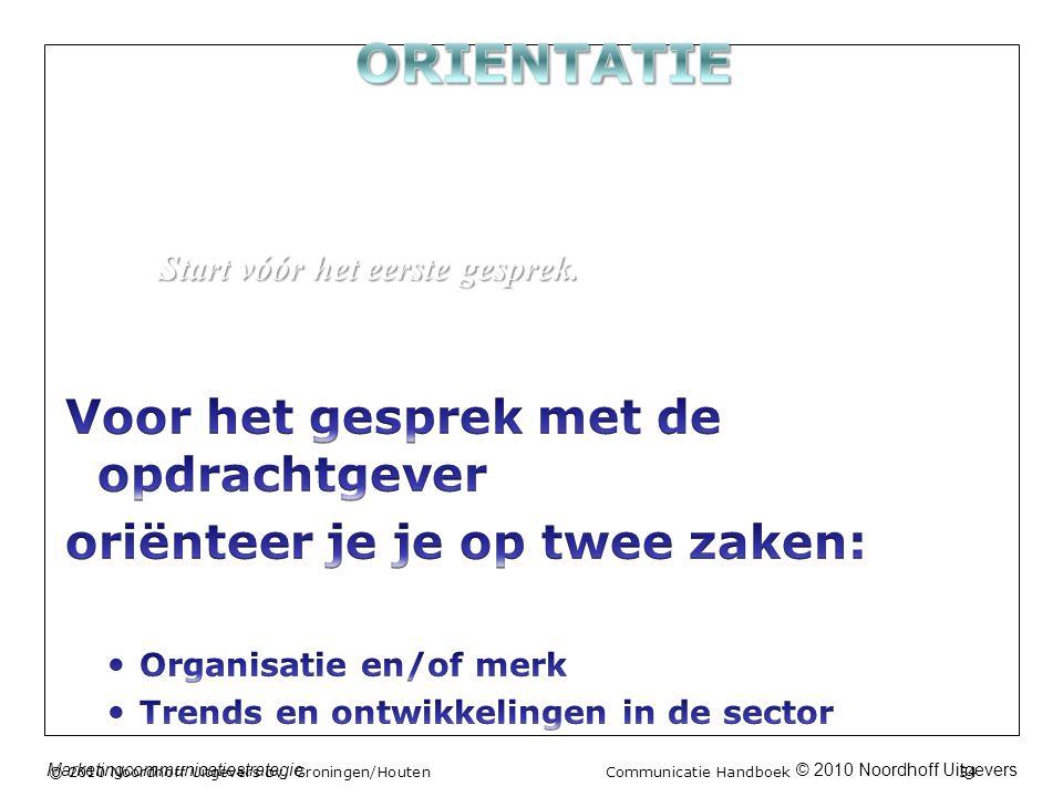© 2010 Noordhoff UitgeversMarketingcommunicatiestrategie © 2010 Noordhoff Uitgevers bv, Groningen/Houten Communicatie Handboek 54 Start vóór het eerste gesprek.