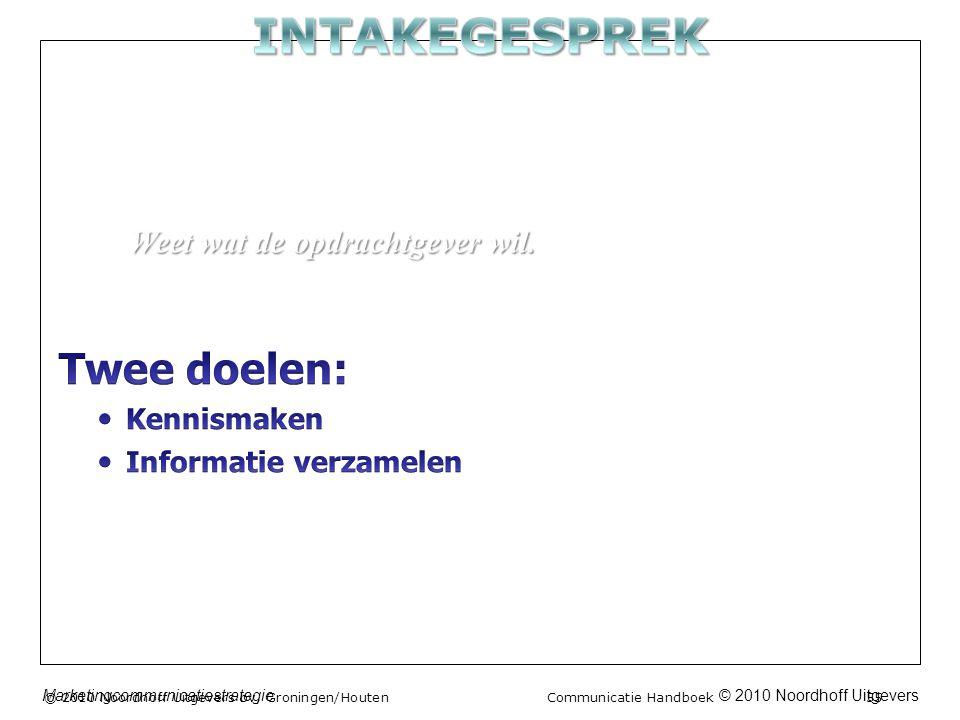 © 2010 Noordhoff UitgeversMarketingcommunicatiestrategie © 2010 Noordhoff Uitgevers bv, Groningen/Houten Communicatie Handboek 55 Weet wat de opdrachtgever wil.