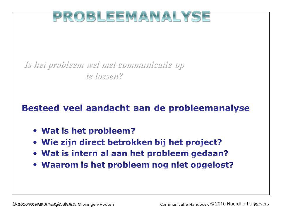© 2010 Noordhoff UitgeversMarketingcommunicatiestrategie © 2010 Noordhoff Uitgevers bv, Groningen/Houten Communicatie Handboek 56 Is het probleem wel met communicatie op te lossen