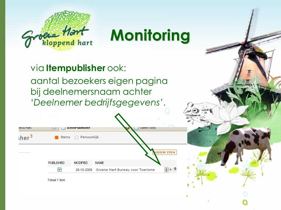 Monitoring via Itempublisher ook: aantal bezoekers eigen pagina bij deelnemersnaam achter 'Deelnemer bedrijfsgegevens'.