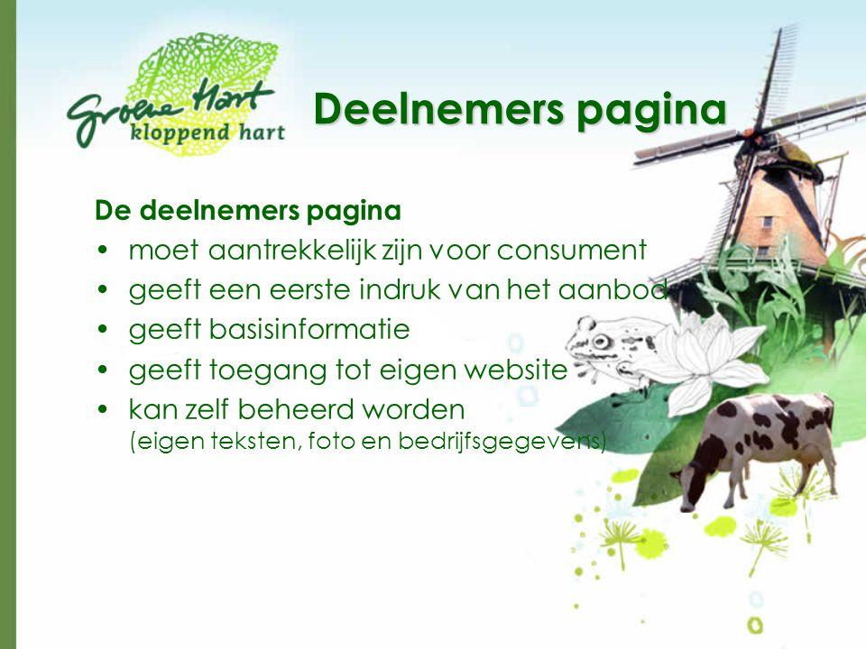 Deelnemers pagina De deelnemers pagina •moet aantrekkelijk zijn voor consument •geeft een eerste indruk van het aanbod •geeft basisinformatie •geeft toegang tot eigen website •kan zelf beheerd worden (eigen teksten, foto en bedrijfsgegevens)