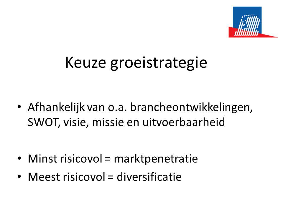 Keuze groeistrategie • Afhankelijk van o.a. brancheontwikkelingen, SWOT, visie, missie en uitvoerbaarheid • Minst risicovol = marktpenetratie • Meest