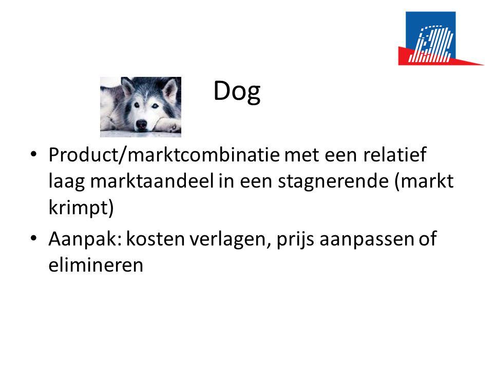 Dog • Product/marktcombinatie met een relatief laag marktaandeel in een stagnerende (markt krimpt) • Aanpak: kosten verlagen, prijs aanpassen of elim