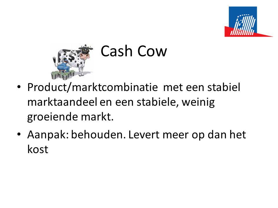 Cash Cow • Product/marktcombinatie met een stabiel marktaandeel en een stabiele, weinig groeiende markt. • Aanpak: behouden. Levert meer op dan het ko