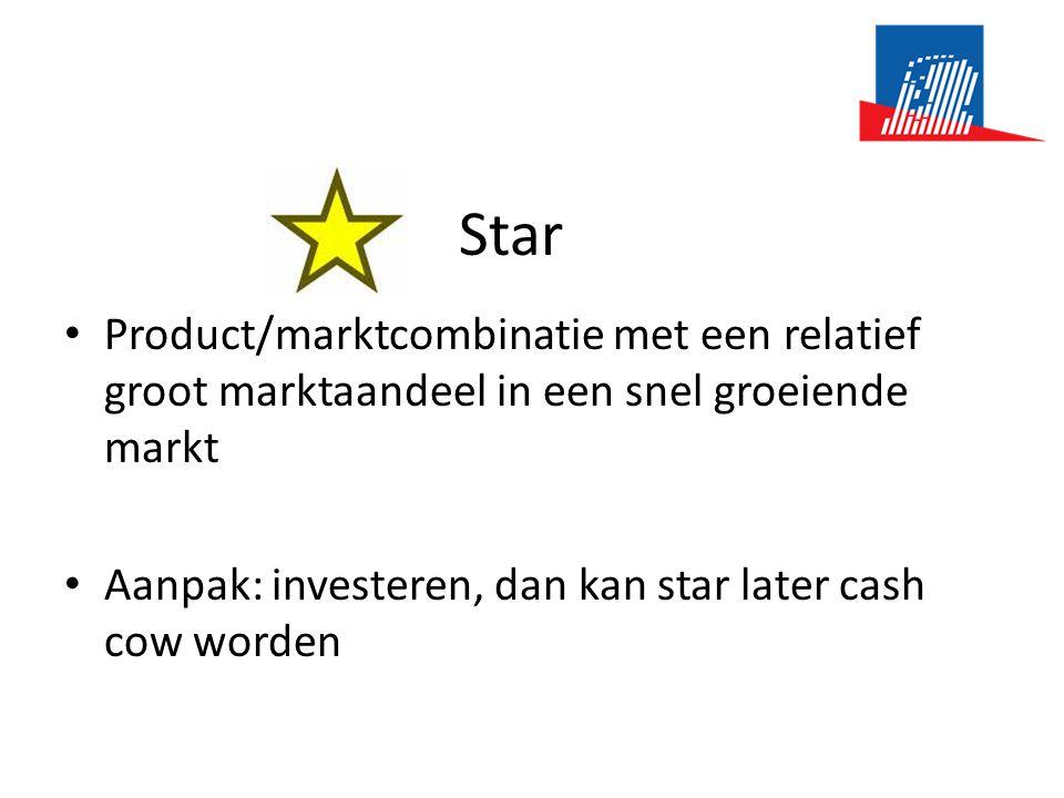 Star • Product/marktcombinatie met een relatief groot marktaandeel in een snel groeiende markt • Aanpak: investeren, dan kan star later cash cow worden