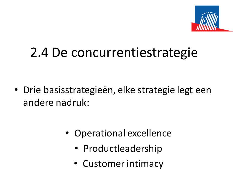 2.4 De concurrentiestrategie • Drie basisstrategieën, elke strategie legt een andere nadruk: • Operational excellence • Productleadership • Customer intimacy