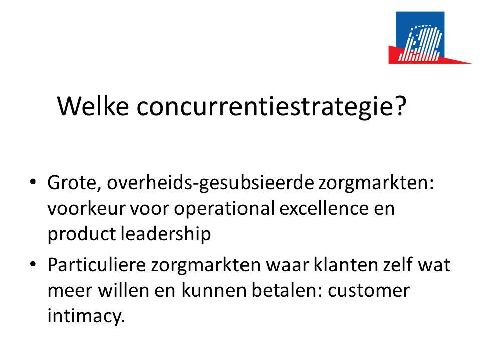 Welke concurrentiestrategie? • Grote, overheids-gesubsieerde zorgmarkten: voorkeur voor operational excellence en product leadership • Particuliere zo