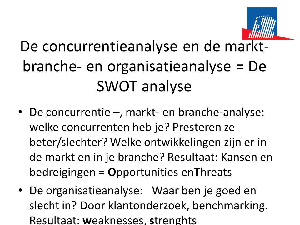 De concurrentieanalyse en de markt- branche- en organisatieanalyse = De SWOT analyse • De concurrentie –, markt- en branche-analyse: welke concurrenten heb je.