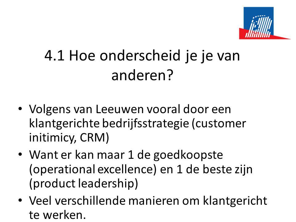 4.1 Hoe onderscheid je je van anderen? • Volgens van Leeuwen vooral door een klantgerichte bedrijfsstrategie (customer initimicy, CRM) • Want er kan