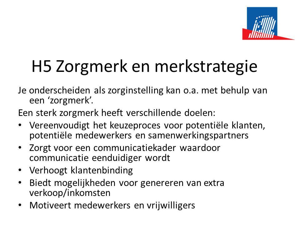 H5 Zorgmerk en merkstrategie Je onderscheiden als zorginstelling kan o.a.
