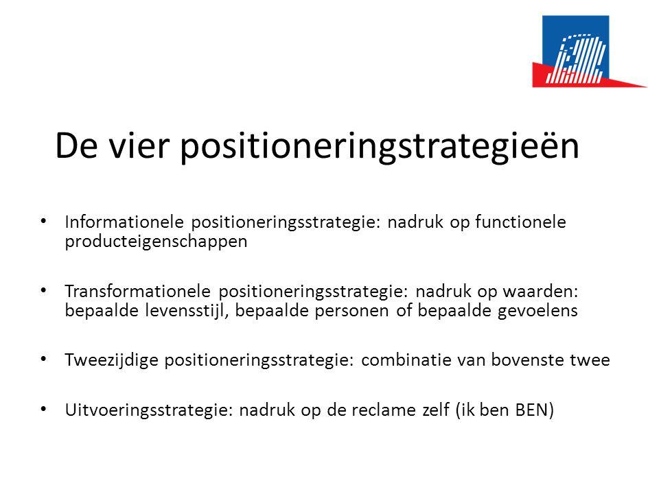 De vier positioneringstrategieën • Informationele positioneringsstrategie: nadruk op functionele producteigenschappen • Transformationele positionerin