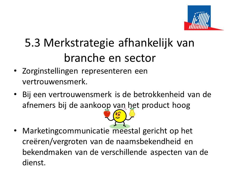 5.3 Merkstrategie afhankelijk van branche en sector • Zorginstellingen representeren een vertrouwensmerk. • Bij een vertrouwensmerk is de betrokkenhei